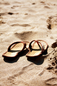 Sandles on the sand - from the Book of Joy