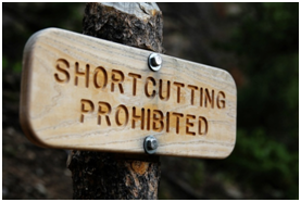 Shortcutting Prohibited sign