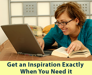 Get an Inspiration: Woman typing and smiling