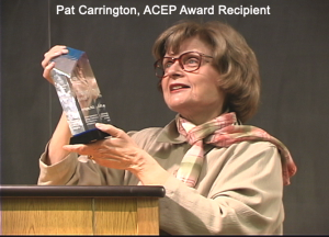 Dr. Pat Carrington's first ACEP Award for Excellence in Research