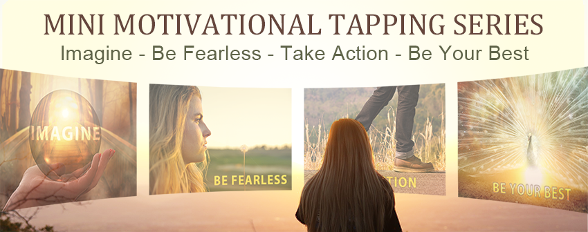 motivational eft tapping series, woman looking at motivating images on horizon