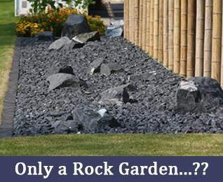 rock garden, black stones